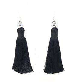 Black Silk & Silver Tassel Earrings