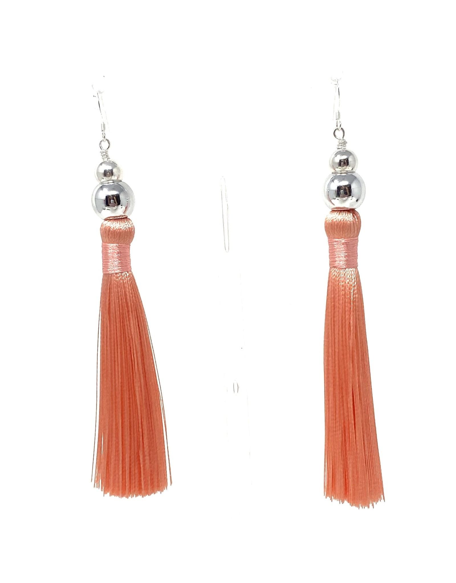 Peach Tassel SIlver Earrings
