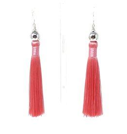 Pink Tassel Silver Earrings