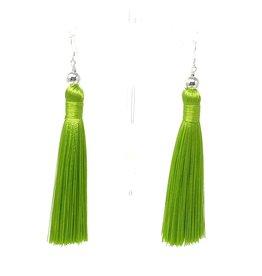 Lime Tassel Silver Earrings