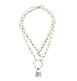 Paperclip Chain, Pearl & Locket Necklace