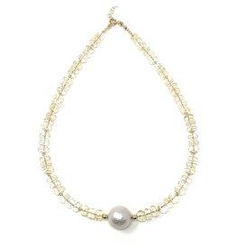 A+ Citrine & Baroque Pearl Necklace