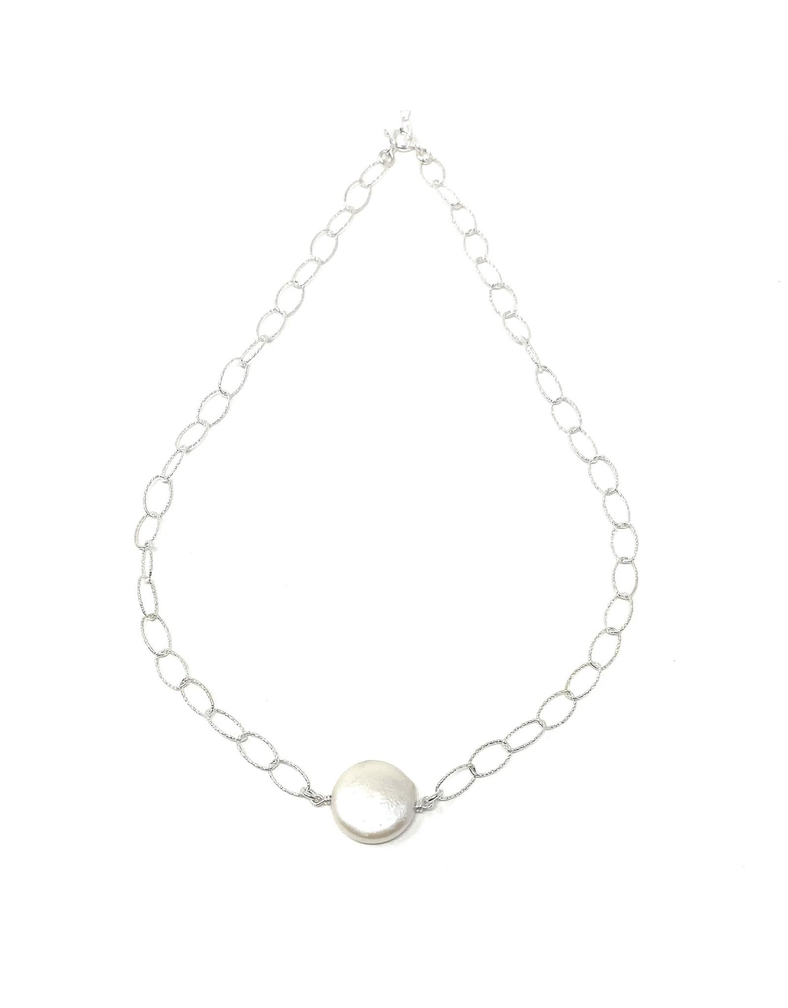 Coin Pearl on Diamond Cut Chain