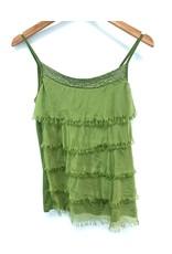 Green Silk Sequin Layer Tank
