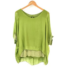 Green Silk Sequin Layer Top