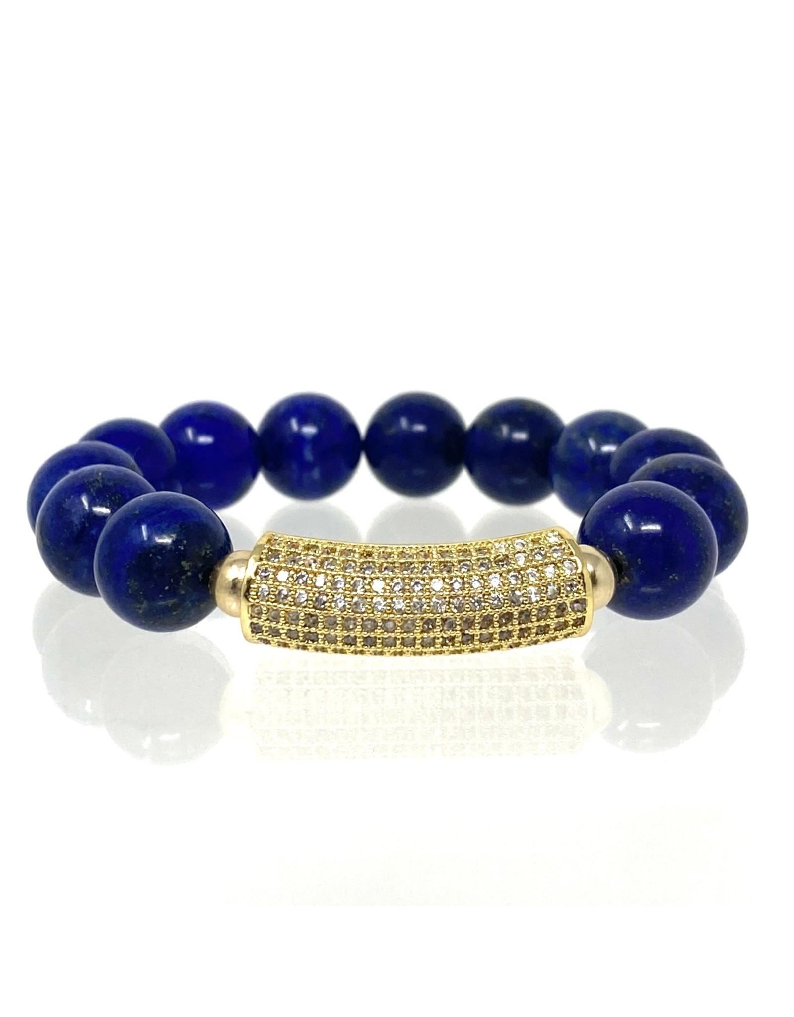 Lapis & Vermil CZ Bar Bracelet