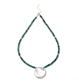 Round Keshi & Chrysoprase Necklace