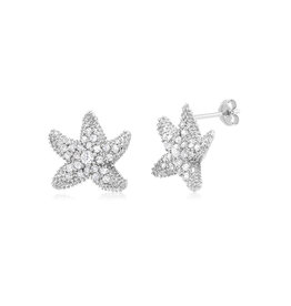 Thick Starfish CZ Stud Earrings