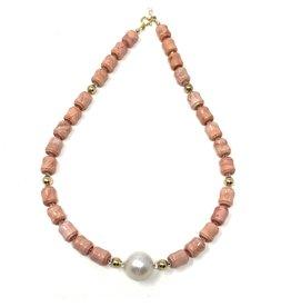 Peach Coral & Baroque Pearl Necklace
