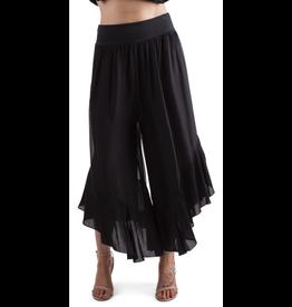 Black Silk Ruffle Pants