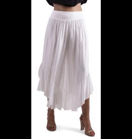 White Silk Ruffle Pants