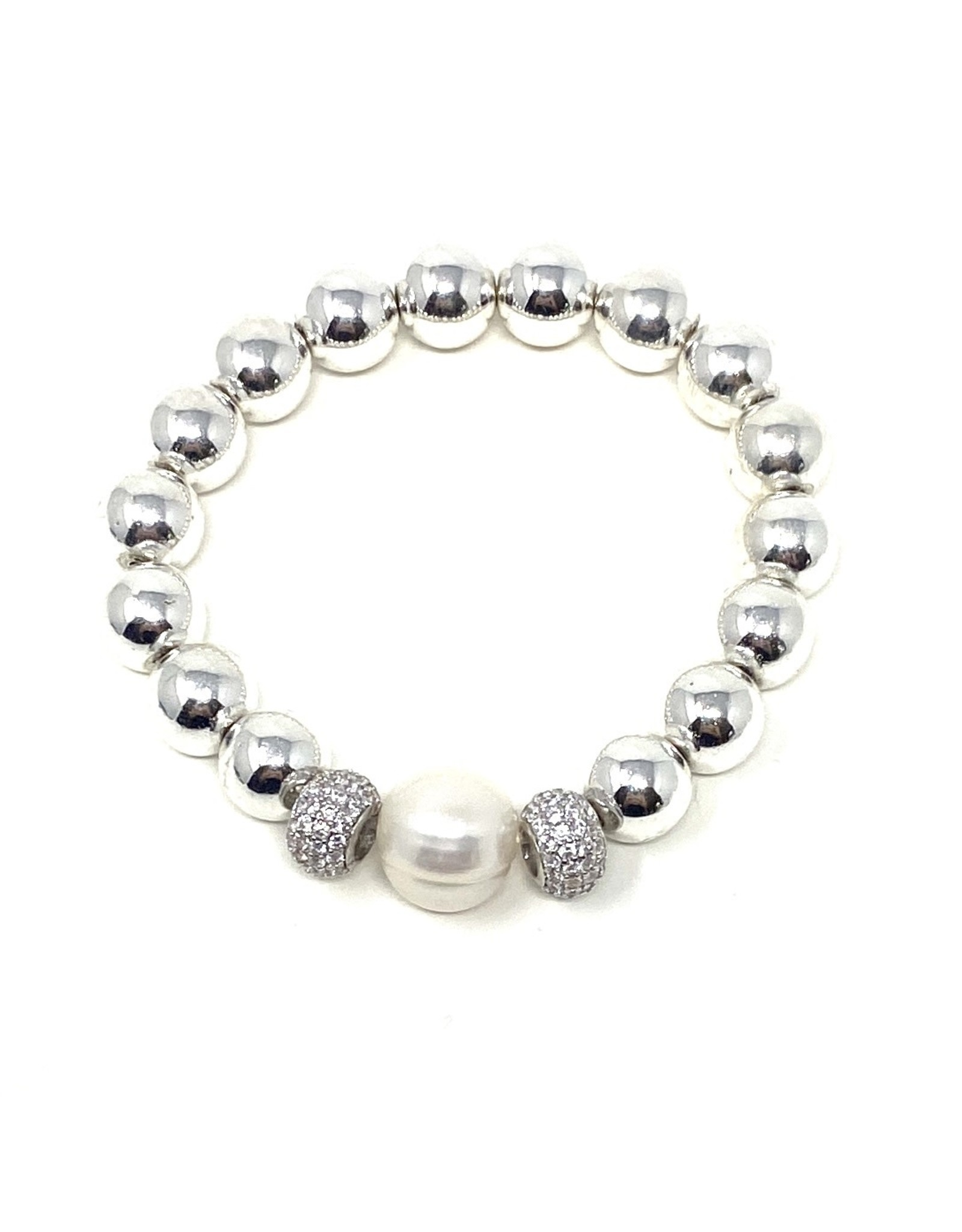 SM Silver Coated Hematite, CZ & FWP Bracelet