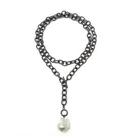 Baroque Pearl on Chunk Oxidized Chain