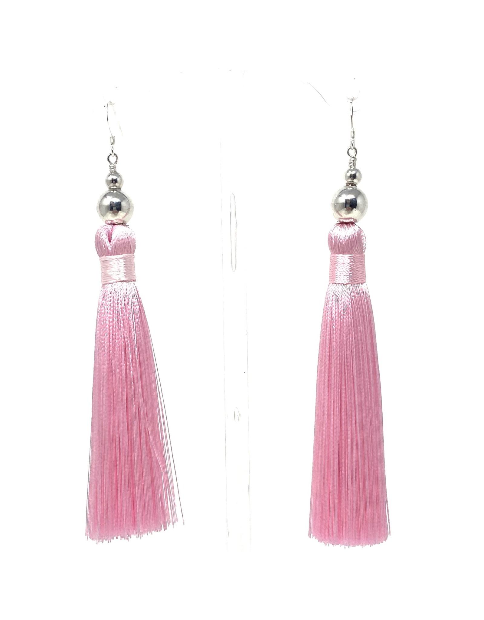 Baby Pink & SIlver Tassel Earrings