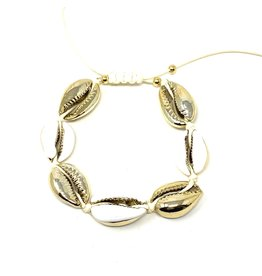 Gold Cowrie Drawstring Bracelet