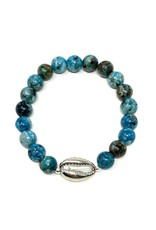 Agate & Silver Cowrie Bracelet