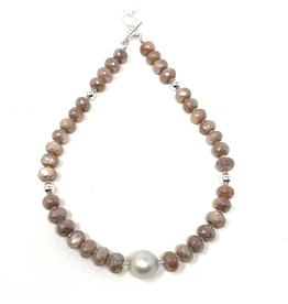 Peach Moonstone & Baroque Pearl Necklace