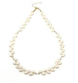 White Potato Pearl & Swarovski Necklace