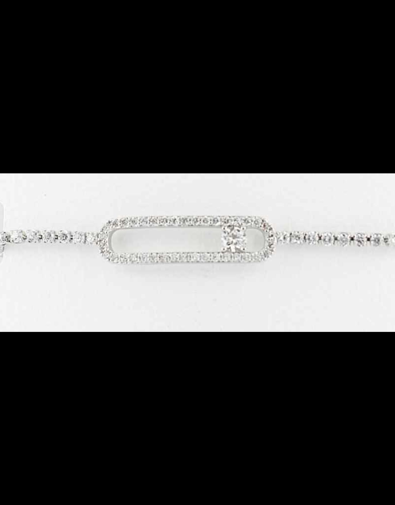 Sunrise USA Trading Silver Long Oval CZ Adj. Bracelet