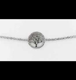 Sunrise USA Trading Silver Tree CZ Adj. Bracelet