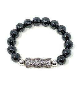 Hematite & LG Silver CZ Barrel Bracelet