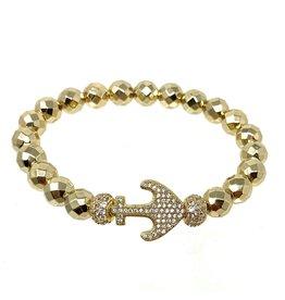 GD Hematite & Silver CZ Anchor Bracelet