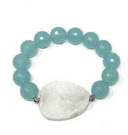 LT Amazonite & White Druzy Agate Bracelet