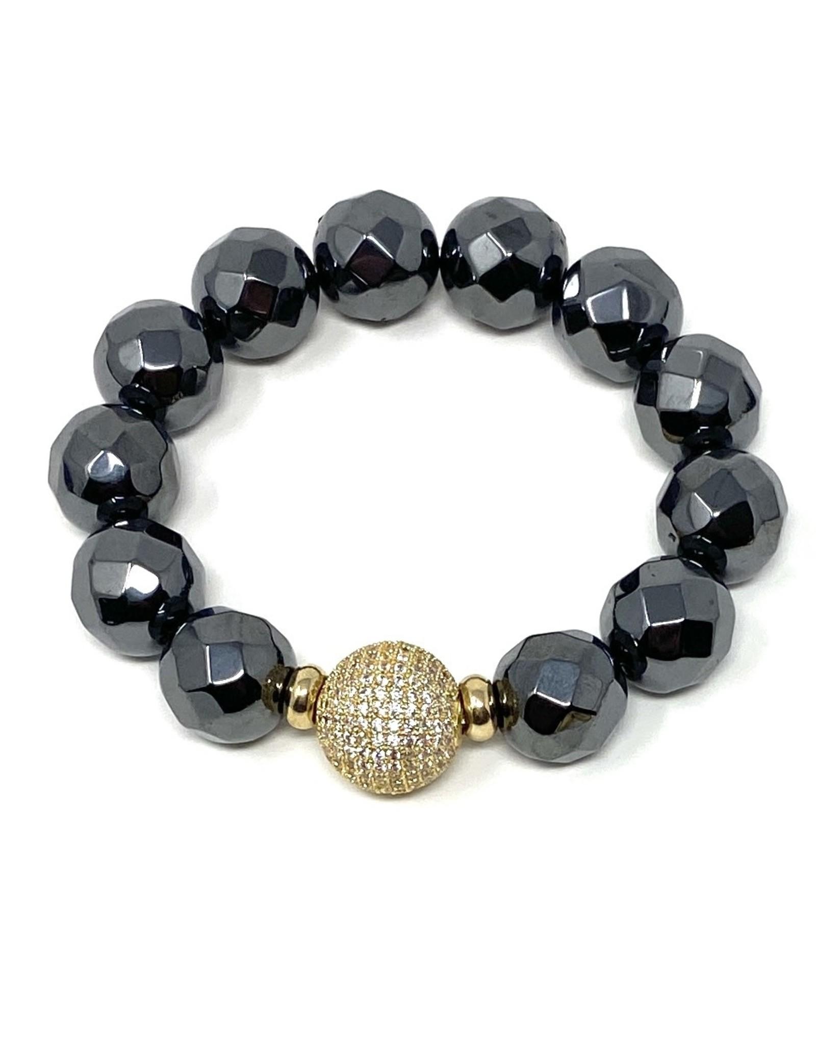 Hematite & Vermil CZ Ball Bracelet