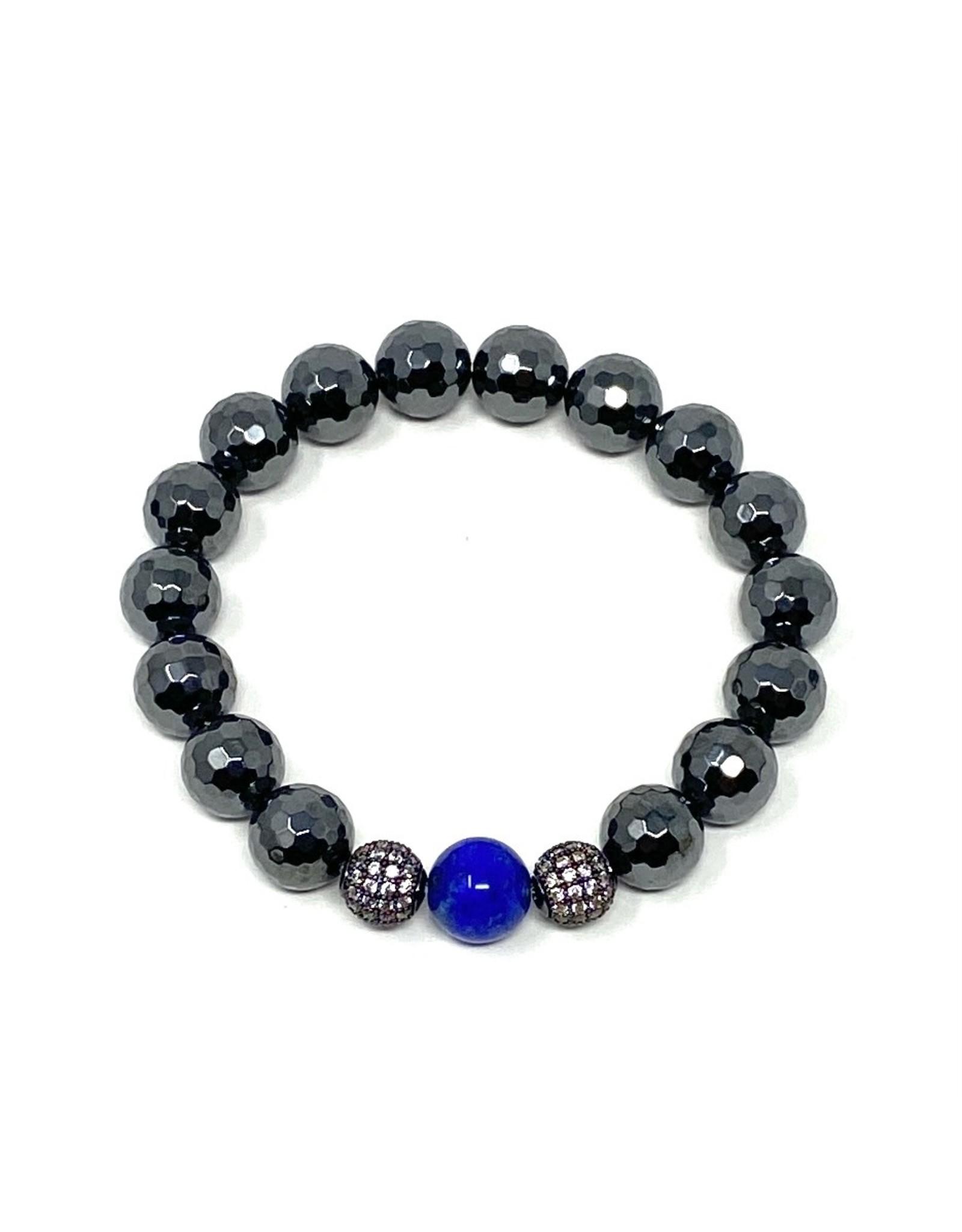 Hematite, CZ & Lapis Bracelet