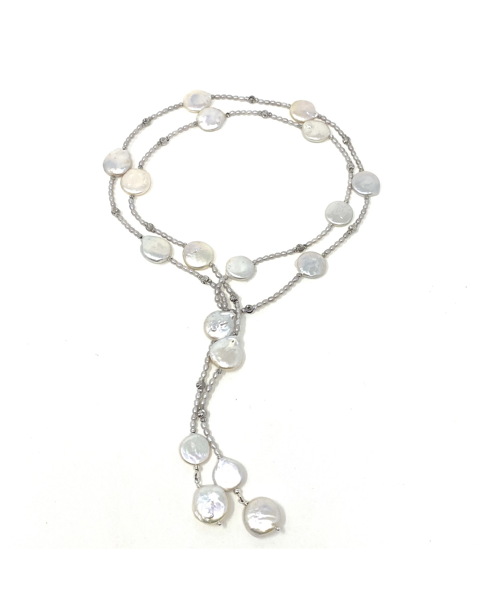 Grey Rice & Coin Pearl Lariat