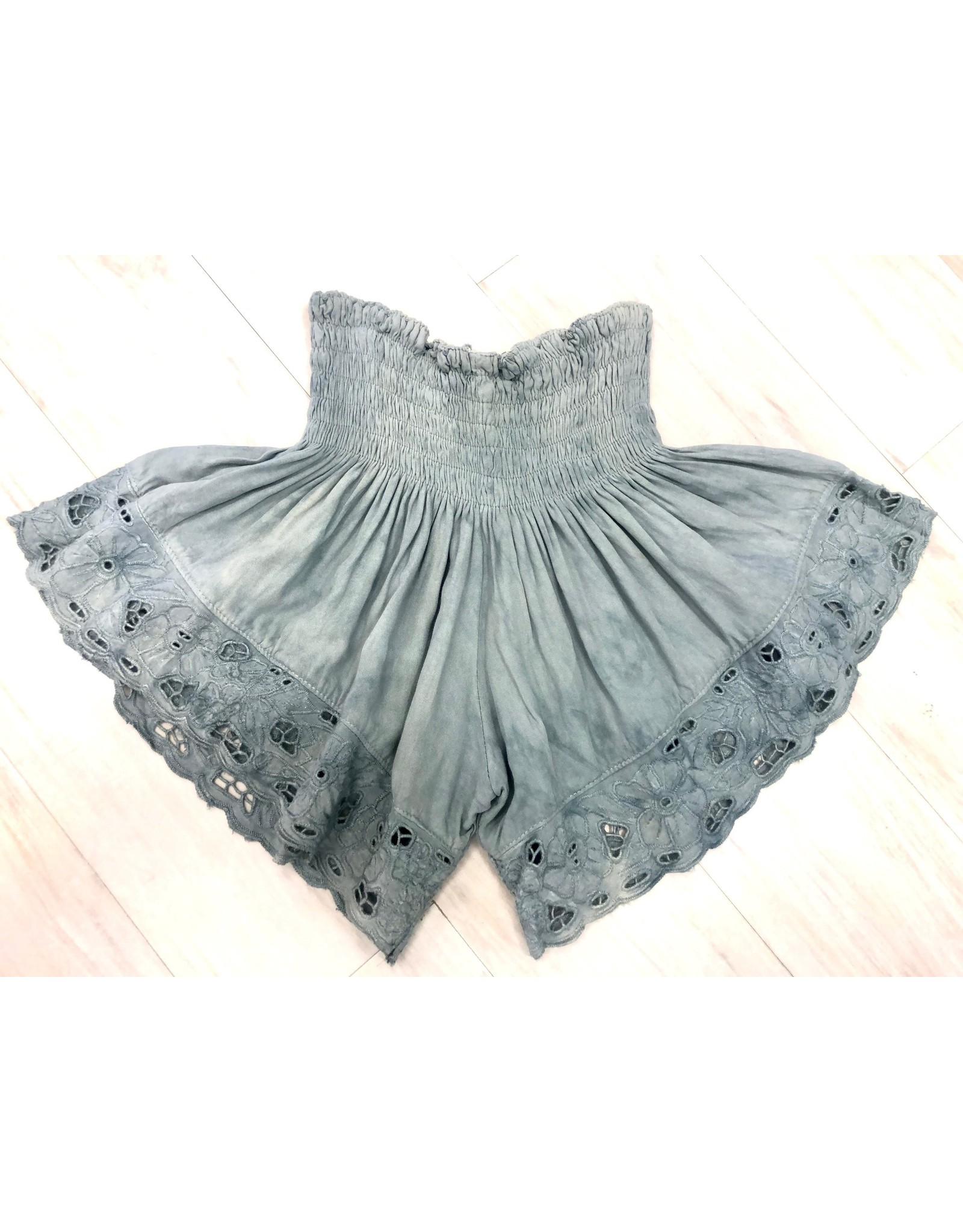 Grey Embroidered Shorts