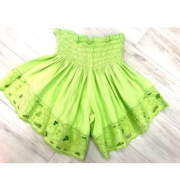 Lime Green Embroidered Shorts
