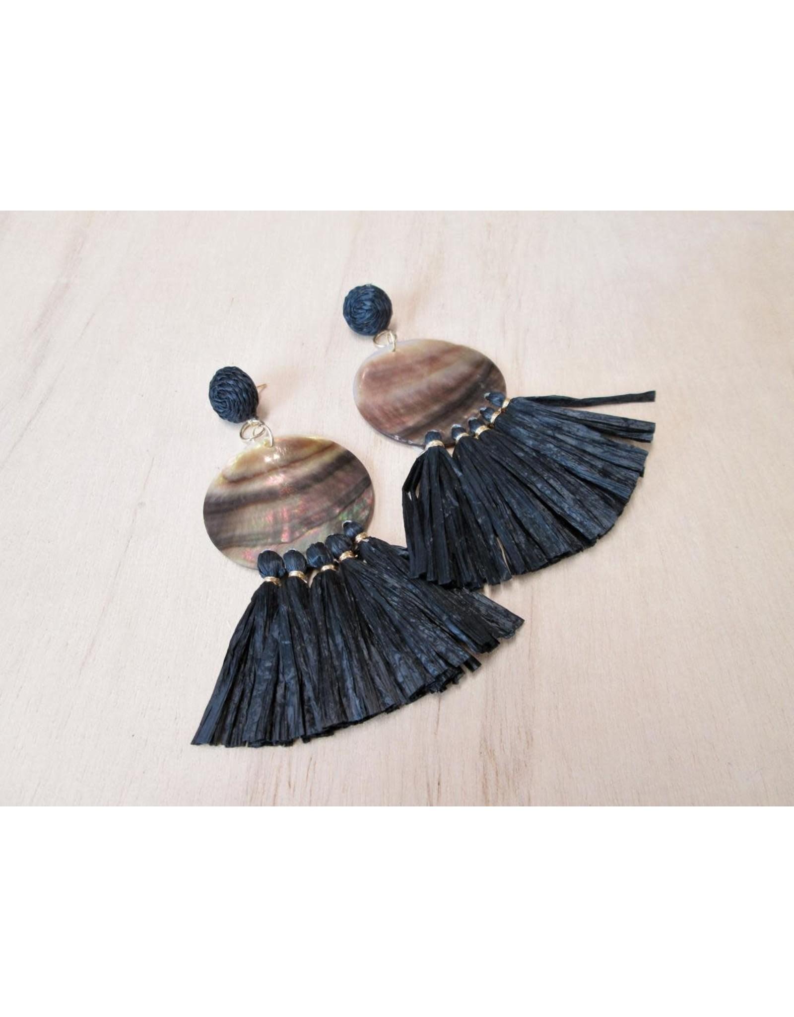 Bali Queen Shell & Raffia Earrings
