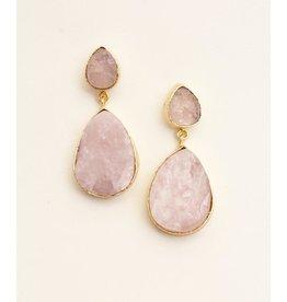 Bali Queen Pink Druzy Teardrop Earrings