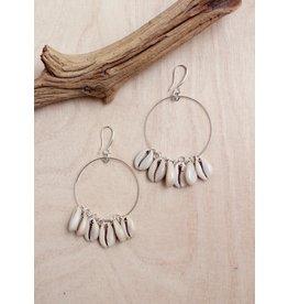 Bali Queen Silver Cowrie Hoop Earrings