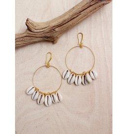 Bali Queen Gold Cowrie Hoop Earrings