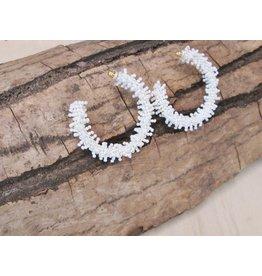 Bali Queen White Beaded Hoop Earrings