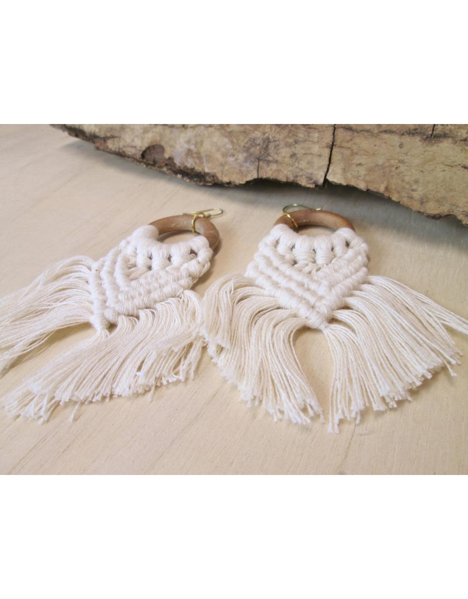 Bali Queen Wood Ring Macrame Earrings