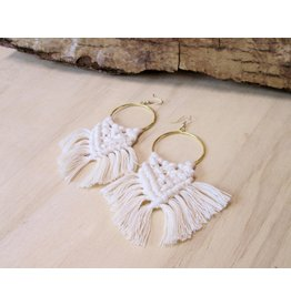 Bali Queen Gold Ring Macrame Earrings