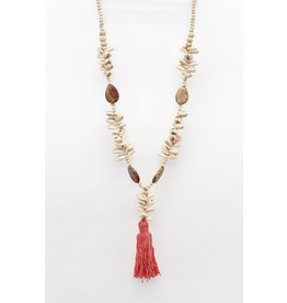 Bali Queen Coral Cowrie Tassel Necklace