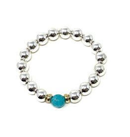 Silver Ctd. Hematite & Agate Bracelet
