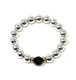 Silver Ctd. Hematite & Onyx Bracelet