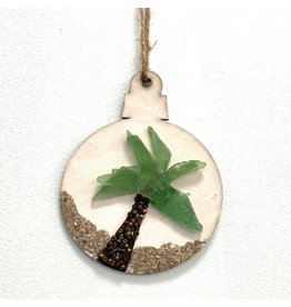 Salty Signs Designs Sea Glass Palm Tree Ornament