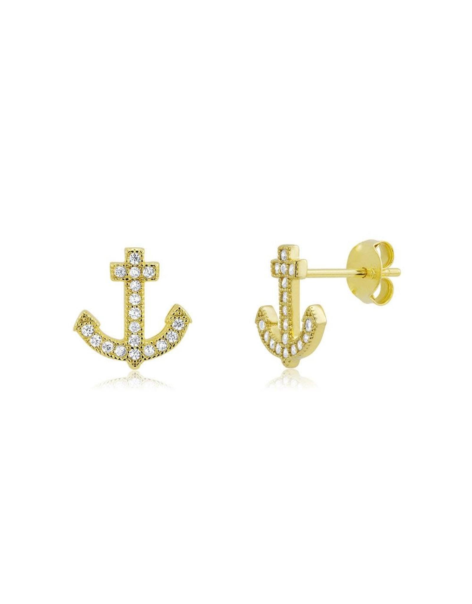 GP Anchor CZ Stud Earrings