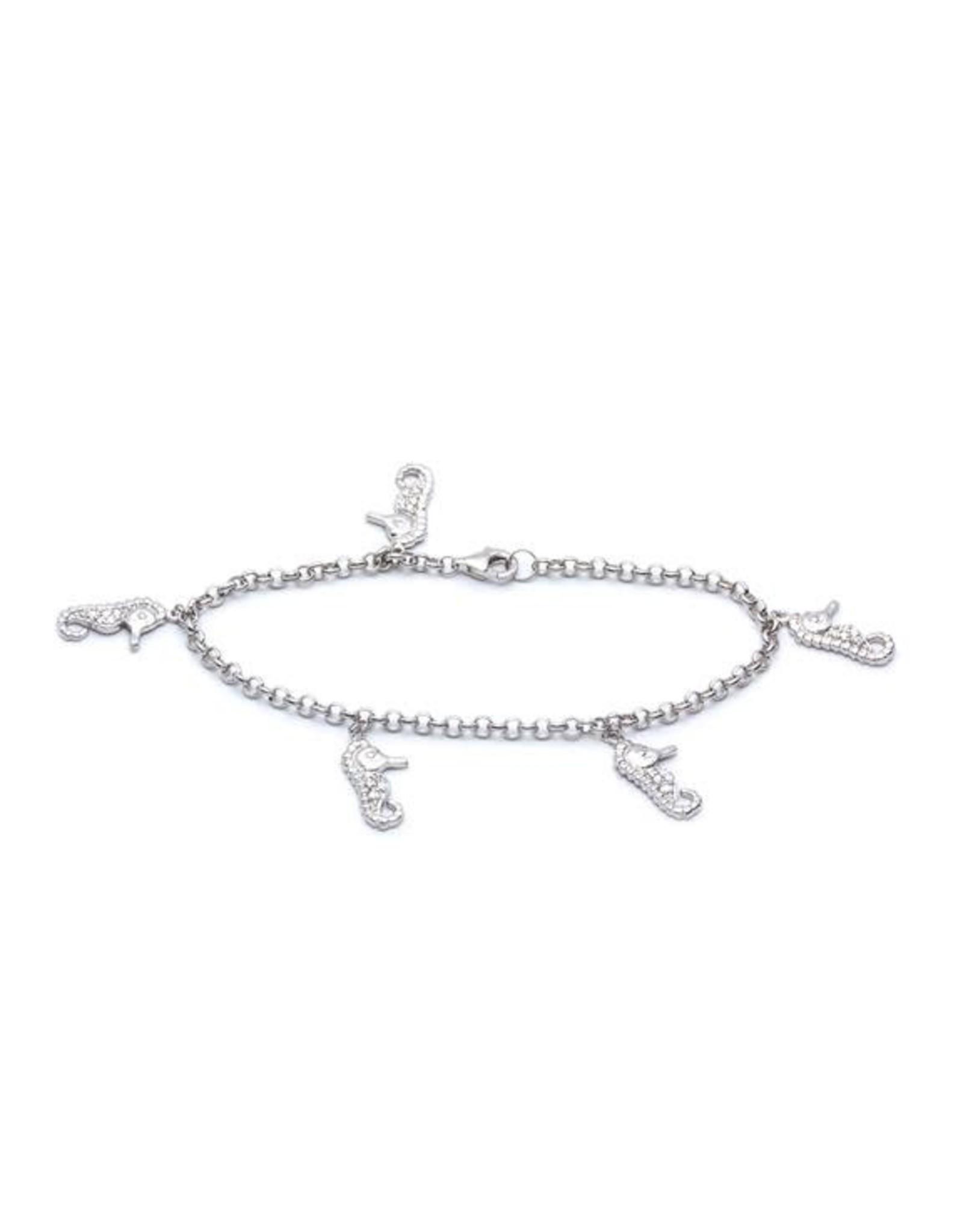 CZ Seahorse Charm Bracelet
