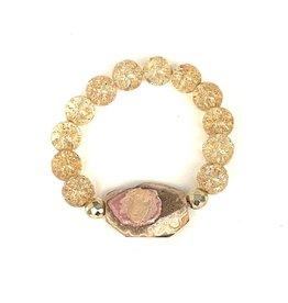 Crackle Quartz & Petrified Wood Bracelet