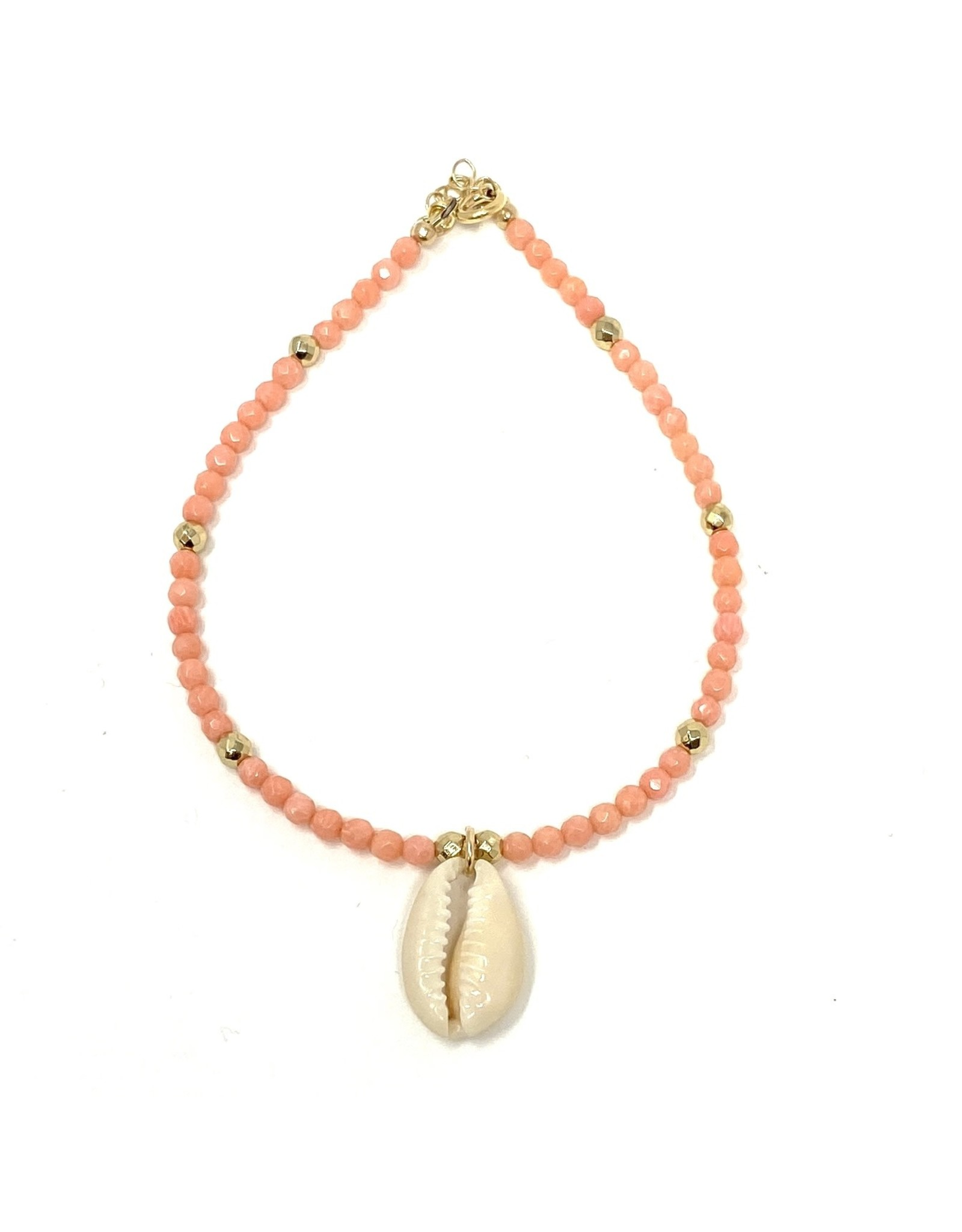 Coral & Nat. Cowrie Anklet