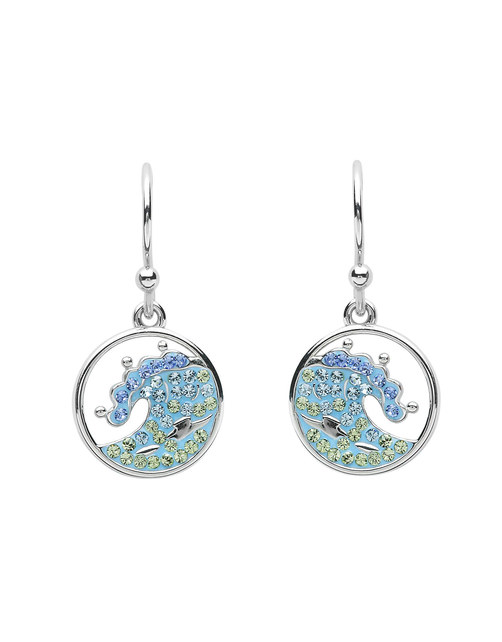 Ocean Jewelry Blue SW Crystal Wave Earrings