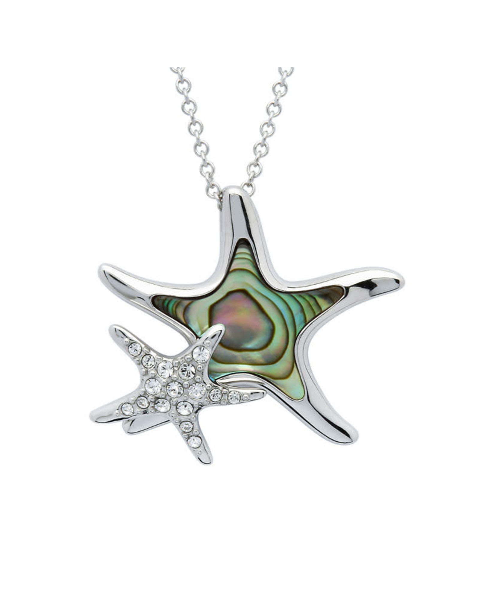 Ocean Jewelry Crystal Starfish/Baby & Abalone Pendant