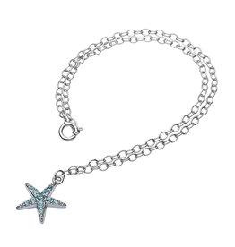 Ocean Jewelry Starfish & Aqua Crystal Anklet